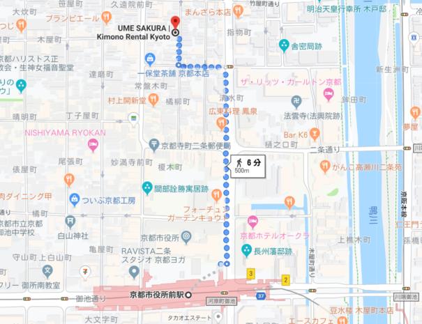 地下鉄駅からのルート(河原町通り)