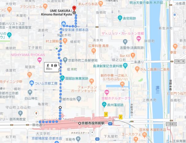 地下鉄駅からのルート(寺町通り)
